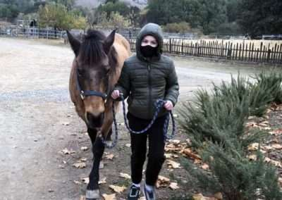 Person leading horse outside in cold weather