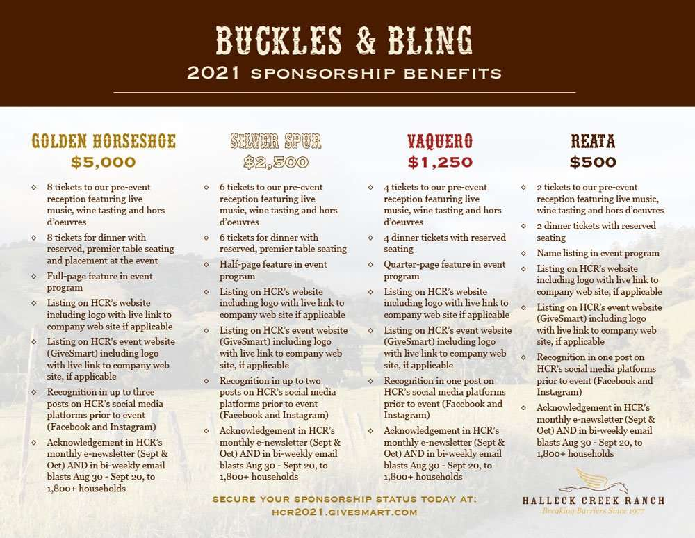Buckles and Bling 2021 sponsorship benefits